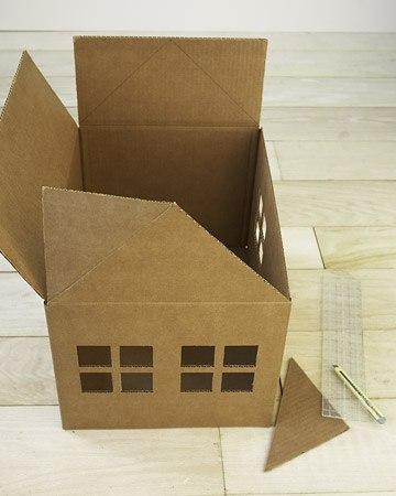 Как сделать дом из коробок коту