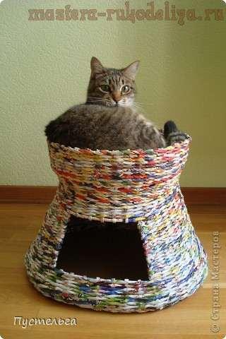 Дом для кота из старых газет и