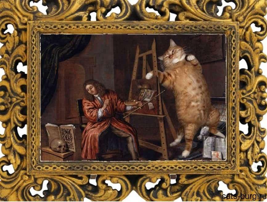 толстый кот на картинах фото-художника